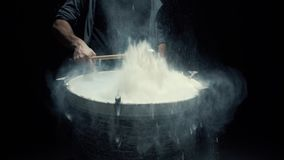 Slow motion game on a dusty drum close up stock video
