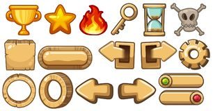Game elements with arrows and symbols. Illustration Royalty Free Stock Image