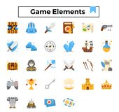 Game elements flat design icon set. vector illustration