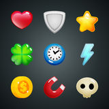 Game elements icons heart, shield, star, clover, clock, lightning, coin, magnet, skull Royalty Free Stock Photo