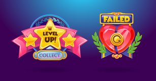 Game elements set. `Level Up`, `failed` cartoon colorful buttons vector illustration