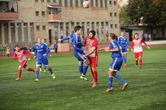 Game episode in a football match with contact Stock Photography