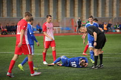 Game episode in a football match with contact Stock Photos