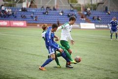 Game episode in a football match with contact Royalty Free Stock Photo