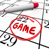 Game Event Day Date Circled Calendar Remember Reminder Schedule Royalty Free Stock Photography