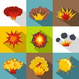 Game explosion icon set, flat style. Game explosion icon set. Flat style set of 9 game explosion vector icons for web design Royalty Free Stock Image