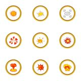 Game explosion icons set, cartoon style. Game explosion icons set. Cartoon style set of 9 game explosion vector icons for web design Royalty Free Stock Photography