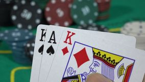 Game Extreme close-up of poker cards stock video