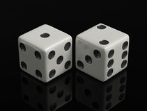 The Game. Falling red dices on a black ground 3d render Stock Image