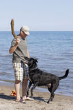 A Game of Fetch with the Dog. A playful game of fetch at the beach is a great way to relax and stay active during the summer months royalty free stock photos