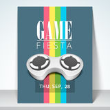 Game fiesta flyer, banner or template design. Stylish flyer, template or brochure for game fiesta with details stock illustration