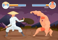 Game fighting. Screen location of computer 2D gaming asian fighter vs wrestler luchador vector background. Video game screen app, battle and combat player royalty free illustration