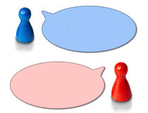 Game figures with round speech bubbles on white background. Concept for discussion, chat, communication. Game figures with round speech bubbles on white royalty free illustration