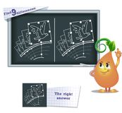 Game find 9 differences animation bird. Visual game for children and adults. Task to find 9 differences in the illustration on the school board Royalty Free Stock Photo