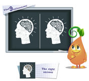 Game find 9 differences brain. Visual game for children and adults. Task to find 9 differences in the illustration on the school board Stock Photography