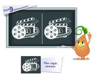 Game find 9 differences cinema. Visual game for children and adults. Task to find 9 differences in the illustration on the school board Stock Photos