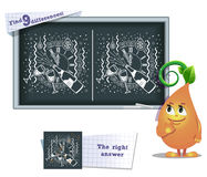 Game find 9 differences clock christmas. Visual game for children and adults. Task to find 9 differences in the illustration on the school board Stock Photos