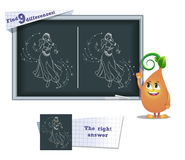 Game find 9 differences  dance; woman. Visual game for children and adults. Task to find 9 differences in the illustration on the school board Stock Photos