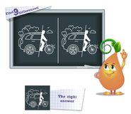 Game find 9 differences draw car free. Visual game for children and adults. Task to find 9 differences in the illustration on the school board stock illustration