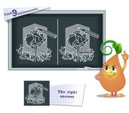 Game find 9 differences eco. Visual game for children and adults. Task to find 9 differences in the illustration on the school board Royalty Free Stock Photo