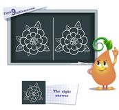 Game find 9 differences flower 3. Visual game for children and adults. Task to find 9 differences in the illustration on the school board Stock Photos