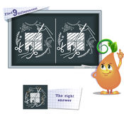 Game find 9 differences gift creativity. Visual game for children and adults. Task to find 9 differences in the illustration on the school board Stock Photos