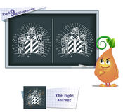 Game find 9 differences gifts. Visual game for children and adults. Task to find 9 differences in the illustration on the school board Royalty Free Stock Photos