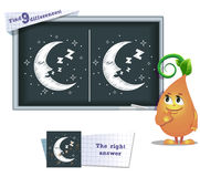 Game find 9 differences moon Stock Photography