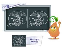Game find 9 differences purchase, gift. Visual game for children and adults. Task to find 9 differences in the illustration on the school board Royalty Free Stock Photos