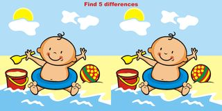 Game, find 5 differences. Toddler, game for chidren. Find 5 differences Stock Images