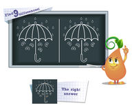 Game find 9 differences umbrella. Visual game for children and adults. Task to find 9 differences in the illustration on the school board Stock Photos