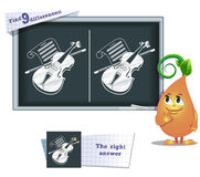 Game find 9 differences violin. Visual game for children and adults. Task to find 9 differences in the illustration on the school board Stock Photo
