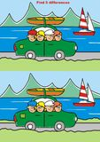Game, find five differences. Trip, game for chilldren. Find five differences. Vector icon Stock Photo