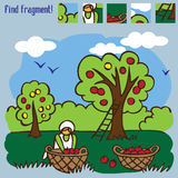 Game find fragment picking apples Royalty Free Stock Image