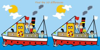 Game - find ten differences. Game for Kids - Find ten differences in the figures. Steamer and children Stock Photography