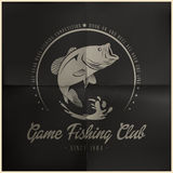 Game Fishing Club badge. Editable eps 10 vector fishing club badge Royalty Free Stock Photo
