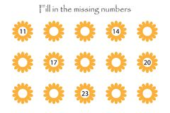Game with flowers for children, fill in the missing numbers, middle level, education game for kids, school worksheet activity,. Task for the development of royalty free illustration