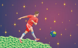 The game of football planet Earth. Stock Photos