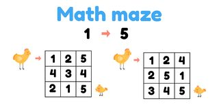 Free Game For Preschool Children. Mathematical Maze. Help The Chicken To Find The Chick. Find Numbers From 1 To 5 Royalty Free Stock Images - 158133409