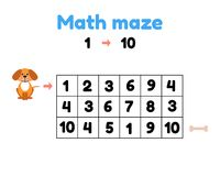 Free Game For Preschool Children. Mathematical Maze. Help The Puppy To Get To The Bone. Find Numbers From 1 To 10 Stock Photo - 123459600