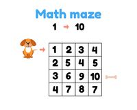 Free Game For Preschool Children. Mathematical Maze. Help The Puppy To Get To The Bone. Find Numbers From 1 To 10 Royalty Free Stock Images - 123459649
