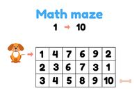 Free Game For Preschool Children. Mathematical Maze. Help The Puppy To Get To The Bone. Find Numbers From 1 To 10 Stock Photography - 123459652