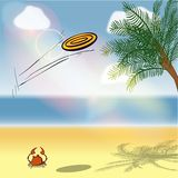 Game of frisbee on the beach. Effect on the lens flare Stock Illustration