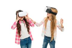 Game and fun. Girls interact cyber reality. Play cyber game and study. Modern education. Alternative education. Technologies. Virtual education. Kids wear hmd stock image