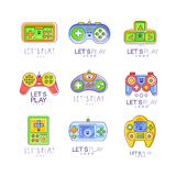 Game gadget collection in line style. Colorful gameplay, joystick, gaming controller. Vector let s play logo. Game gadget let s play logo collection in line Stock Image