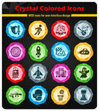 Game genre icon set. Game genre crystal color icons for your design Royalty Free Stock Photography