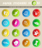 Game genre icon set. Game genre icons on color paper stickers for your design Royalty Free Stock Photos
