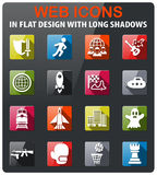 Game genre icon set. Game genre icons set in flat design with long shadow Royalty Free Stock Photo