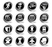 Game genre icon set. Game genre icons on stylish round chromed buttons Stock Photos
