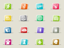 Game genre icon set. Game genre web icons on color paper bookmarks Stock Photo